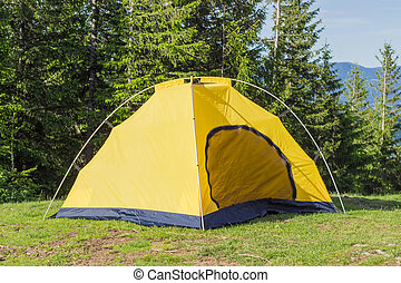 Inner tent from hiking dome tent on background of forest -...