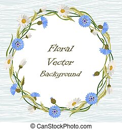 Round frame with wild flowers - Round frame with blue...