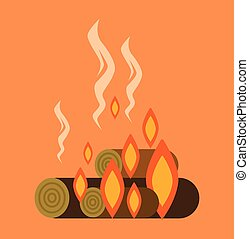 Bonfire with firewood Vector flat cartoon illustration