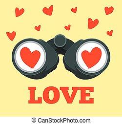 Love binoculars. Vector flat cartoon illustration