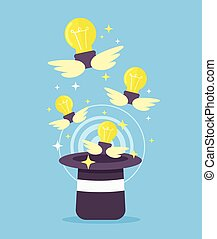 Light bulb fly from magic hat Vector flat cartoon...