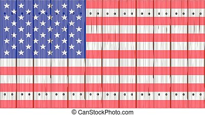Stars And Stripes On A Fence