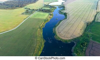 beautiful river landscape. Aerial view - beautiful summer...