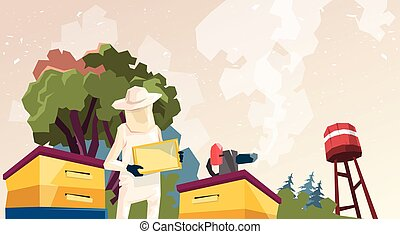 Farmer Gather Honey From Bee Hive Apiary Flat Vector...
