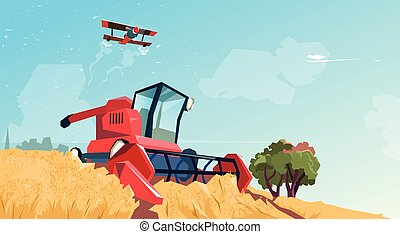 Combine Harvesting Wheat Crop In Field Flat Vector...