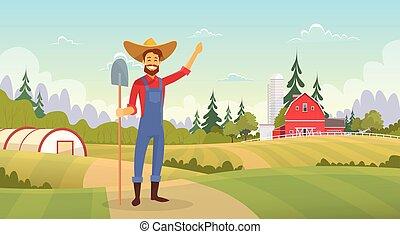 Farmer Standing Show Farm, Farmland Countryside Landscape...