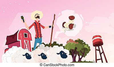 Farmer Breeding Sheep Wool Farm Flat Vector Illustration