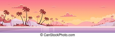Summer Vacation Sunset Sea Shore Sand Beach Flat Vector...