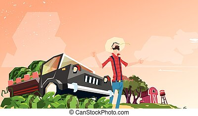 Farmer Picking In Field Watermelon Harvest Flat Vector...