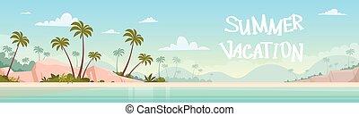 Summer Vacation Sea Shore Sand Beach Blue Sky Sun Vector...