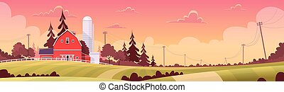 Agriculture And Farming, Farmland Countryside Sunset...