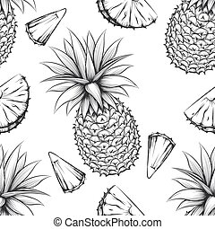 Pineapple vector seamless pattern