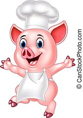 Pig chef cartoon - Vector illustration of Pig chef cartoon