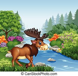 Cartoon moose with big horns - Vector illustration of...