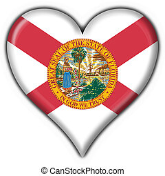 Florida USA State button flag heart shape - 3d made