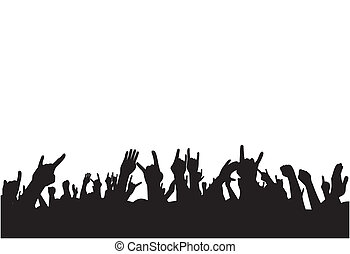Fans on concert - Abstract vector illustration on fans on...