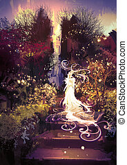 beautiful goddess up the stairs - fantasy landscape painting...