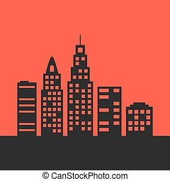 black city landscape on red background