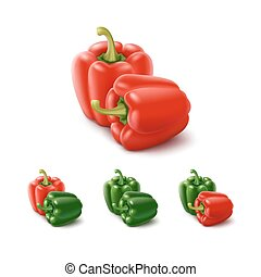 Colored Green Red Sweet Bulgarian Bell Peppers, Paprika...