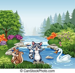 Cartoon funny animals in forest - Vector illustration of...