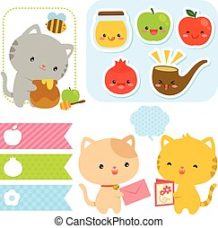 Cartoons for Rosh Hashanah - Cute kawaii style cartoons for...