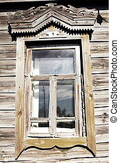 Old Russian village house - Window of old Russian village...