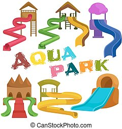Plastic slides for water park on a white background. -...
