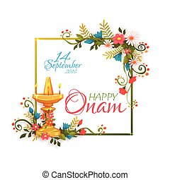 Happy Onam banner with frame. Vector illustration.
