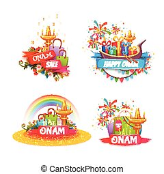 Onam holiday sale banner set with ribbon. Vector illustration