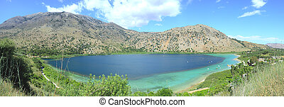Lake Kournos panorama - A panoramic view of Lake Kournos,...