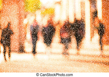City commuters in winter - Winter city commuters with snow...