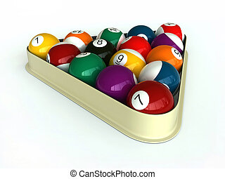 Billiard - 3d render of billiard balls and triangle on white...