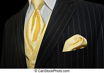 Dressed Up - Gold accessories with tuxedo.