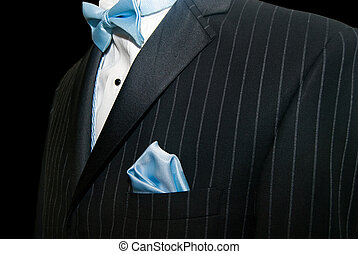 Wedding Suit - Blue bowtie with tuxedo.