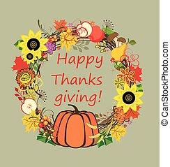 Decorative frame for Thanksgiving - Decorative floral frame...