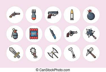 Weapons icons set,eps10