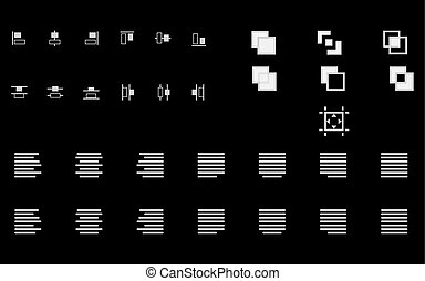 Set of align shapes, text and objects vector icons for web...