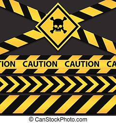Police line and danger tapes on dark background. Vector...