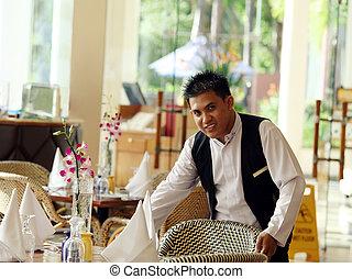 waiter working at restaurant