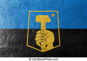 Flag of Donetsk, Ukraine, painted on leather texture