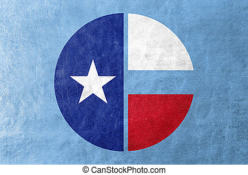 Flag of Collin County, Texas, USA, painted on leather texture
