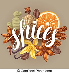 Background design with various spices. Illustration of anise, cloves, vanilla, ginger and cinnamon