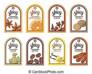 Tags with various spices. Illustration of anise, cloves, vanilla, ginger and cinnamon
