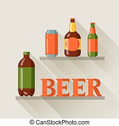 Background design with beer can and bottles