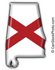 Alabama USA State button flag map shape - 3d made