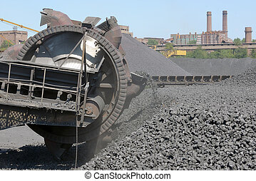 bucket-wheel excavators digging