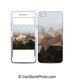 Mobile smartphone with an example of the screen and cover...