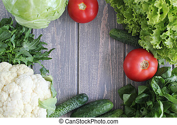 Composition of vegetables on grey wooden desk Tomato,...