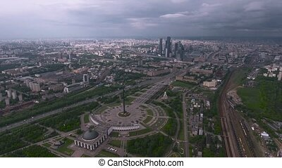 aerial photography Park victory in Moscow, flying over...