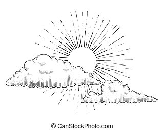 Sun with clouds engraving vector illustration